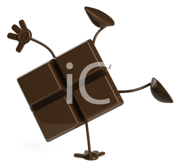 Royalty Free Clipart Image of Piece of Chocolate Doing a Handstand