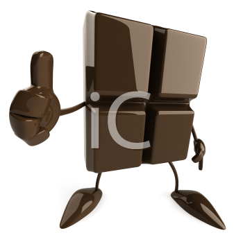 Royalty Free Clipart Image of a Square of Chocolate Giving a Thumbs Up