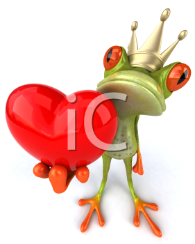 Royalty Free 3d Clipart Image of a Frog Wearing a Crown and Holding a Heart