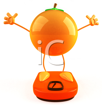 Royalty Free 3d Clipart Image of an Orange Standing on a Scale