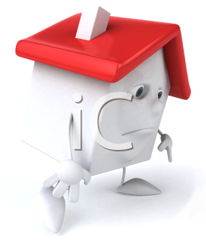 Royalty Free 3d Clipart Image of a Sad House