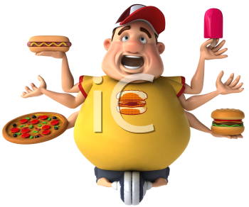 Royalty Free Clipart Image of a Many-Armed Overweight Guy With Fattening Foods Riding an Exercise Bike