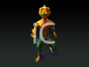 Royalty Free 3d Clipart Image of a Pumpkin Head Monster