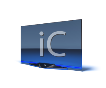 Royalty Free 3d Clipart Image of a Big Screen TV