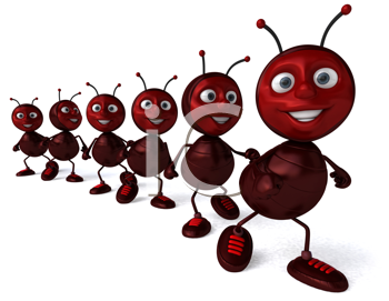 Royalty Free Clipart Image of Ants in a Row