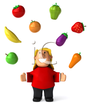 Royalty Free Clipart Image of a Woman Juggling Healthy Food