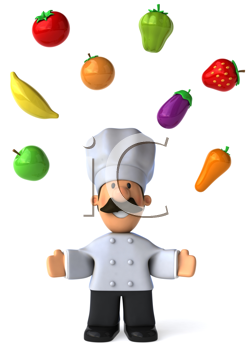 Royalty Free Clipart Image of a Chef Juggling Fruit and Vegetables