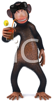 Royalty Free Clipart Image of a Monkey With a Drink