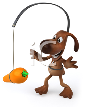 Royalty Free Clipart Image of a Carrot Dangling in Front of a Dog