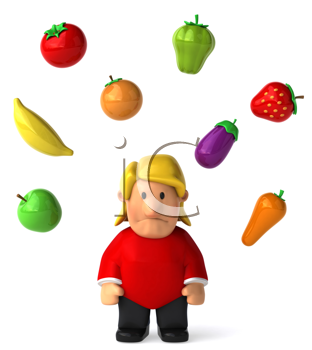 Royalty Free Clipart Image of a Woman With Fruit and Vegetables