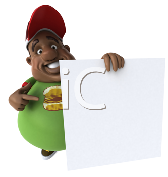 Royalty Free Clipart Image of an Overweight Man With a Sign