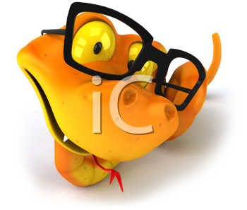 Royalty Free Clipart Image of a Snake Wearing Glasses