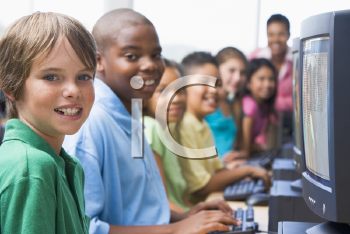 Royalty Free Photo of Students in Computer Class