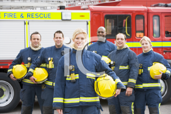 Royalty Free Photo of Firefighters in Front of the Truck