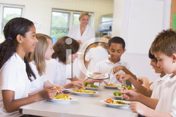 Royalty Free Photo of Students in a Cafeteria