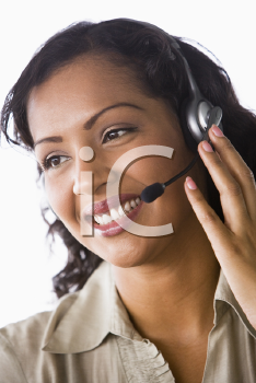Royalty Free Photo of a Woman With a Headset
