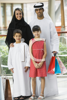 Royalty Free Photo of a Family at the Mall