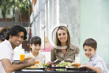 Royalty Free Photo of a Family at a Restaurant