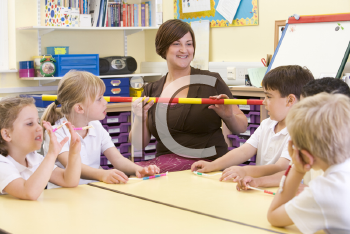 Royalty Free Photo of a Teacher and Student With a Counting Stick
