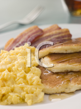 Royalty Free Photo of Bacon, Eggs and Pancakes