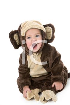 Royalty Free Photo of a Baby in a Monkey Costume