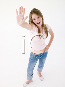 Royalty Free Photo of a Girl With Her Hand Up