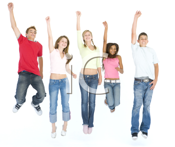 Royalty Free Photo of Five People Jumping