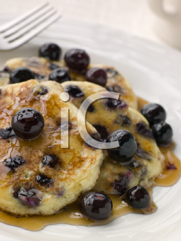 Royalty Free Photo of Blueberry Pancakes and Syrup