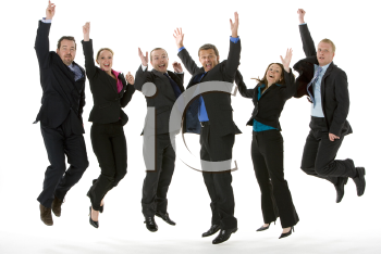 Royalty Free Photo of a Business Team Jumping