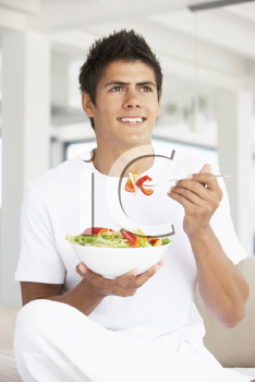 Royalty Free Photo of a Guy Eating a Salad