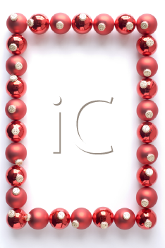 Border Made From Red Baubles Against White Background