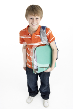 Royalty Free Photo of a Boy With a Schoolbag and Book
