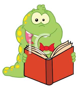 Royalty Free Clipart Image of a Bookworm