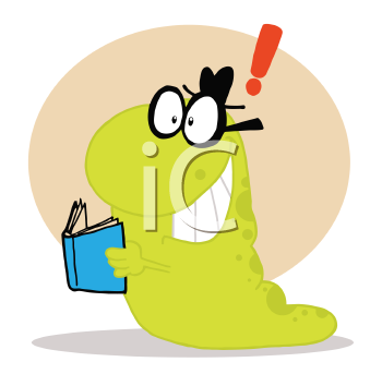 Royalty Free Clipart Image of a Reading Worm
