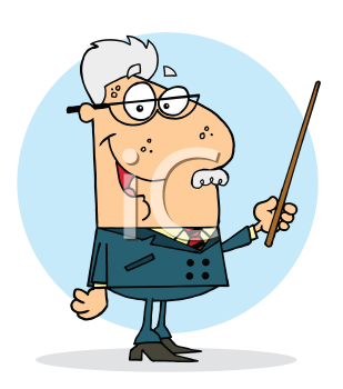 Royalty Free Clipart Image of a Man With a Pointer