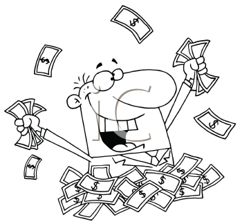 Royalty Free Clipart Image of a Businessman Throwing Money