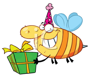 Royalty Free Clipart Image of a Bee With a Gift