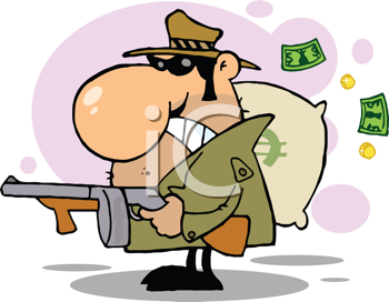 Royalty Free Clipart Image of a Gangster With a Gun and a Sack of Money
