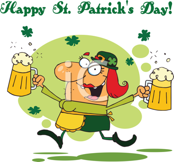 Royalty Free Clipart Image of a Bar Maid on St. Patrick's Day