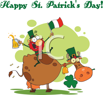 Royalty Free Clipart Image of a Happy St. Patrick's Day Message With a Leprechaun on a Cow