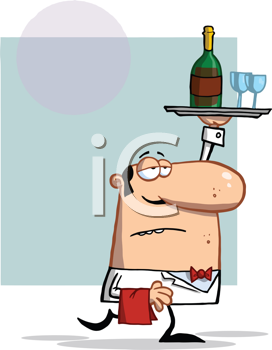 Royalty Free Clipart Image of a Waiter Walking With a Tray of Wine and Glasses