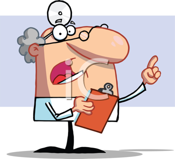Royalty Free Clipart Image of a Male Doctor Holding a Clipboard