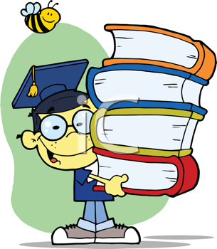 Royalty Free Clipart Image of an Asian Male Graduate Carrying Books With a Bee Over His Head