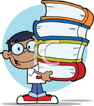Royalty Free Clipart Image of an African American Schoolboy Carrying Books