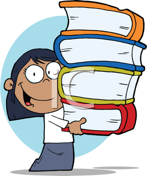 Royalty Free Clipart Image of a Student Carrying Textbooks