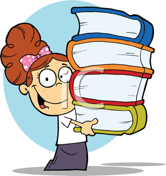 Royalty Free Clipart Image of a Student Carrying Books