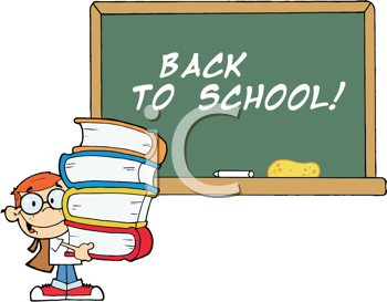 Royalty Free Clipart Image of a Student at a Chalkboard With Back to School on It