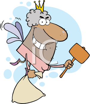 Royalty Free Clipart Image of an African American Male Tooth Fairy With a Mallet and a Bag