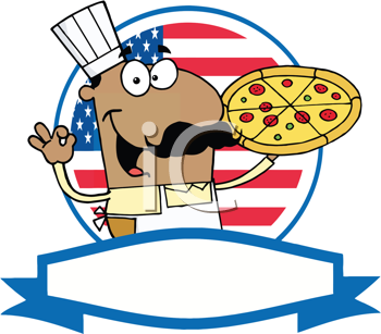 Royalty Free Clipart Image of an African American Pizza Guy With a Pizza Pie in Front of a USA Flag