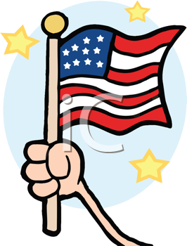 Royalty Free Clipart Image of a Hand Holding an American Flag